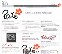 Railo website homepage screenshot