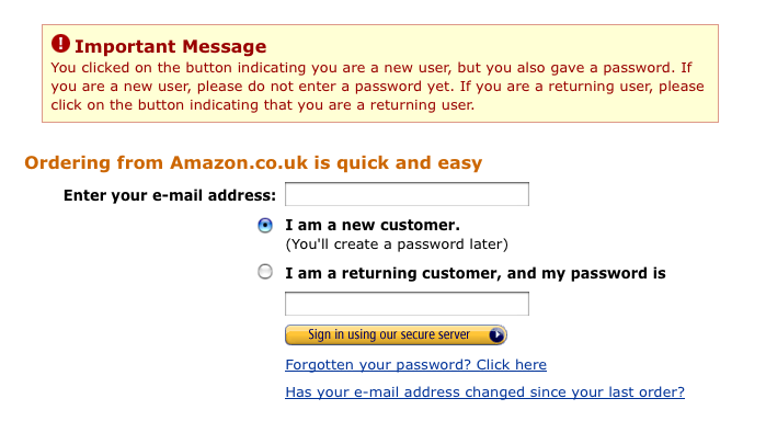 Amazon log in error screen shot